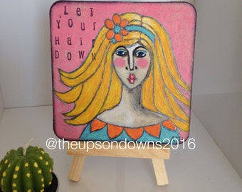 """4"""" square miniature whimsical original acrylic painting with easel"""