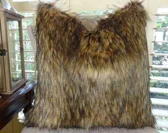 Brown Fur Throw Pillow Cover - Mountain Coyote Brown Faux Fur Pillow - Light & Dark Brown Faux Fur Pillow - Luxury Faux Fur Pillow - 17406