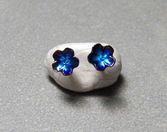 6mm Vintage Midnight Blue Enameled Flower Post Earrings with Silver Posts