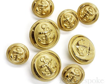 Sets of Hand-Polished Gold Anchor Buttons in Two Sizes, Made in France