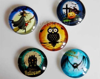 5 Halloween Mixed Round Glass Cabochons 20mm (051)