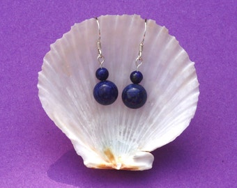 Sterling silver earrings with Lapis Lazuli beads, zodiac birthstone Pisces and Sagittarius, navy blue gemstone earrings, hypoallergenic