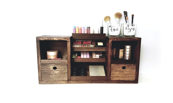 makeup organizer wood. makeup vanity organizer | table top |teen girl gift storage beauty accessories gifts for her artist wood r
