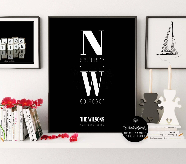 Custom coordinates new home housewarming gift minimalist for Minimalist gifts for housewarming