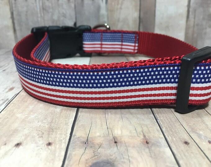 "The Freedom | Designer 1"" Width Dog Collar | CupcakePups Collars | Fourth of July | American Pride - Medium/Large Dog Collar"