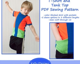 On Your Mark T-Shirt and Tank Top Pattern children's color-blocked shirt sewing pattern