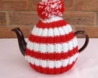 Hand Knitted Tea Pot Cover ( Red and White )