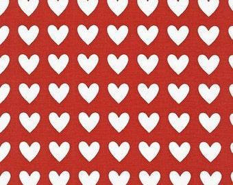 Remix Hearts on Red Premium Cotton Fabric by Ann Kelle for Robert Kaufman Fabrics