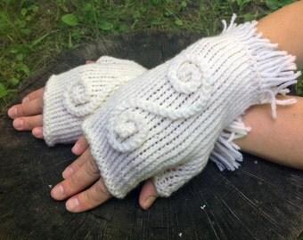 arm warmer knitting fingerless, white mitts, gloves, fingerless mitts, fingerless knitted gloves, women's gloves