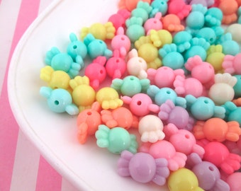 25 Assorted Pastel Candy Beads, Taffy Beads, Hard Candy Beads, Chunky Beads #290