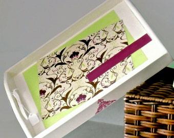 Decorative Wood Catchall Ottoman Vanity Serving Tray - Elegant and Modern