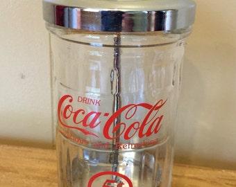 "Vintage Coca Cola Straw Dispenser Glass Chrome 6.5"" Tall Retro Soda Pop Drink Coca Cola Delicious and Refreshing"