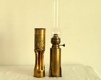 Trench art oil lamp and one other WW1
