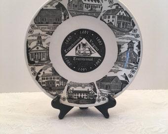 Vintage Tappahannock Virginia Tricentennial Plate ~ Black & White Plate