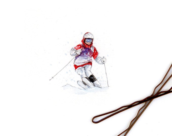 """Print of miniature painting of a Snow Skier. 1 1/4"""" x 1 1/4"""" print of original a Snow Skier painting on 5"""" square german etching paper"""