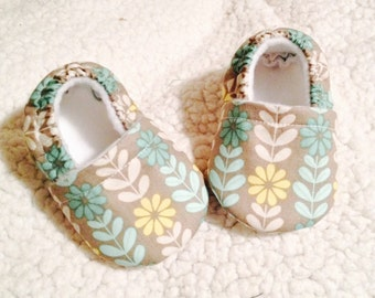Baby Booties Mint & Yellow flowers on gray ( prints may vary), Crib shoes, baby gift