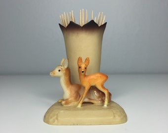 vintage plastic toothpick holder with two deer TOO CUTE