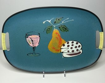 vintage blue lacquerware tray Made in Japan