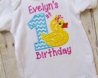Girl First Birthday Onesie, 1st Birthday Girl Onesie, Rubber Ducky Onesie, 1st Birthday Outfit, Girl Birthday Bodysuit, 1st Birthday
