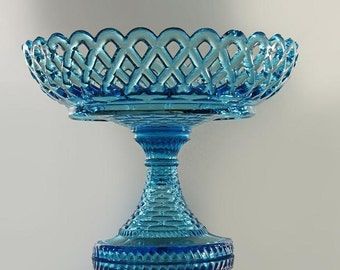 Basket Weave Open Compote, Blue Glass