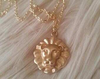 Lion King, Lion Necklace, Gold Necklace, Gold Charm