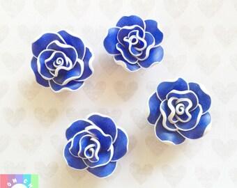 Royal Blue Clay Rose Flower Cabochons- 4pcs 25mm