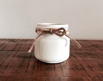 Chalk finished 8 oz Mason jar soy candle