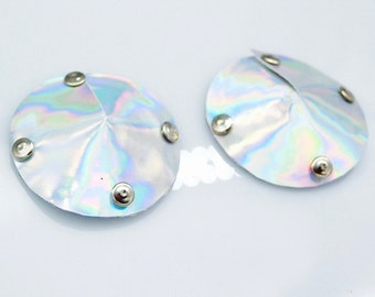 Holographic Studded Pasties . Silver Rivet Dominatrix BDSM Round Metallic Pasties . Burlesque Rave Nipple Covers