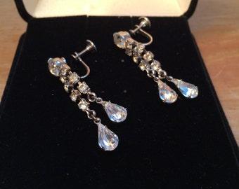 Bridal Jewelry, Vintage Rhinestone Dangling Earrings, 1950's Rhinestone Earrings, Unique Vintage Wedding Jewelry, Style No. 1542
