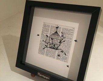 Birdcage papercut on vintage dictionary pages - wall art