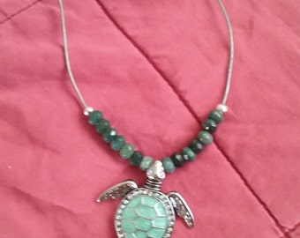 Turtle pendant necklace with green jasper beads with leather cord