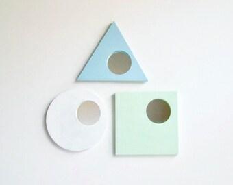 3 Geometric Mirrors, Wall Mirrors, Decorative Wall Mirrors, Triangle Mirror, Square Mirror, Round Mirror, Mint, Pastel Blue, White Mirror