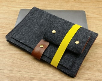 Laptop Bag for Macbook 11inch 12inch 13inch 15inch Laptop Sleeve Macbook Pro Sleeve Macbook Air Case with Charger Orangizer Cord Bag-TFL114