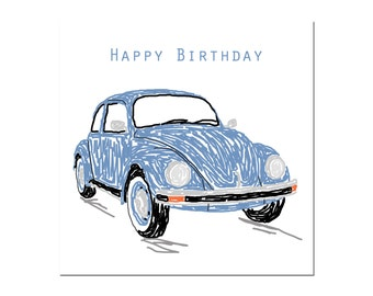 Blue Beetle Happy Birthday greetings card