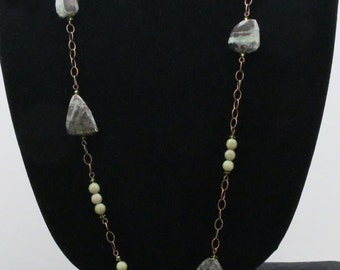 Green Necklace, Picture Jasper, Jade, Natural Brass Chain Necklace