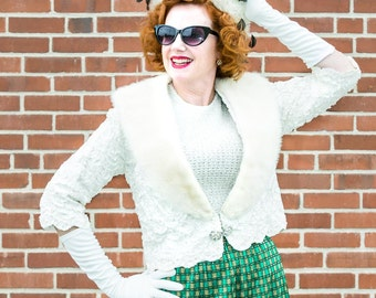 White lace vintage 1950 jacket with white mink trim and rhinestone closure FREE SHIPPING from RCMooreVintage