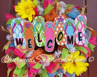 Summertime Flip Flop Welcome Wreath