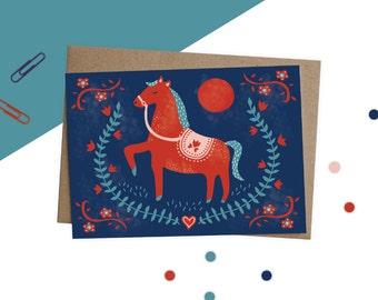 Folk Art Horse Illustration Greetings Card, Quirky Colourful Greeting's Card, Polish Folk Art, Horse Illustration, Colourful Card