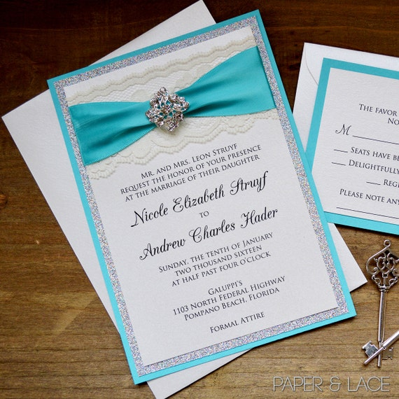 ELIZABETH - Turquoise and Silver Glitter Wedding Invitation - Ivory Lace Invite with Silver Crystal Brooch - Princess Fairytale Invitation