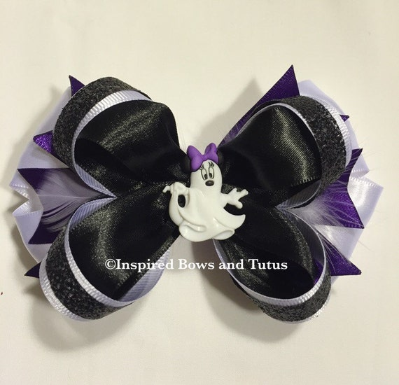 Minnie Mouse Ghost Halloween Inspired Hair Bow