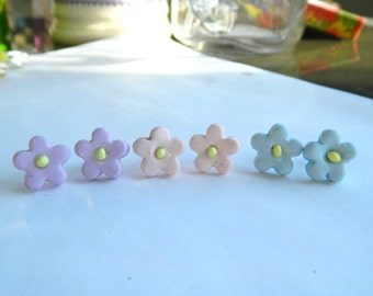 Set of 3 - Handmade Pastel Flower Earrings -  Polymer Clay