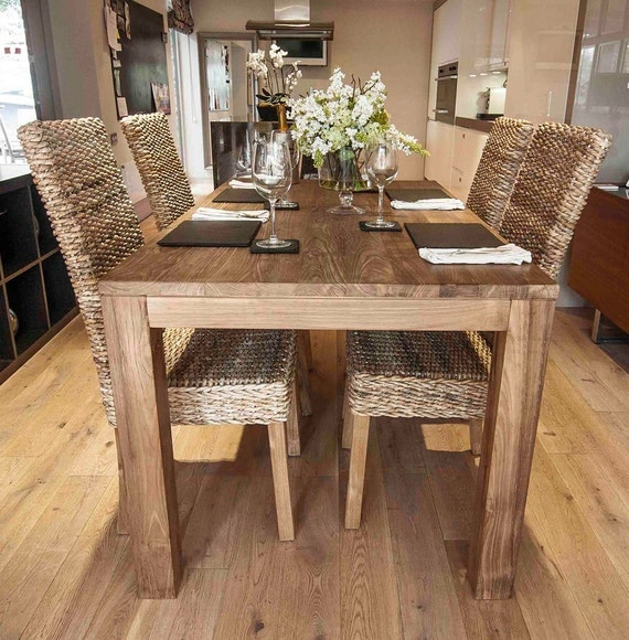 Tutuk 160cm reclaimed dining set with 4 banana leaf chairs for Table 160 cm avec rallonge
