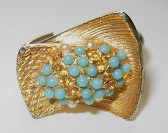 Vintage 1960s Abstract Design Ring - Adjustable
