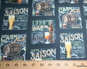 Craft Beer Fabric Cotton Fabric BTY By the Yard, Half Brew Brewmaster Lager Beer Making Keg Ale Quilting Fabric 20r