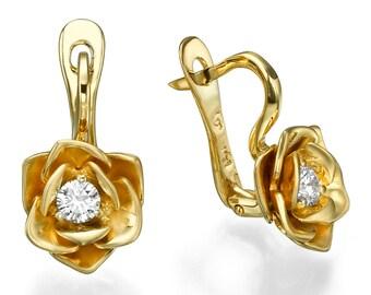 Gold flower earring, gold earring dangle, Diamond earring, Yellow gold earring, flower earring, Rose earring, Unique earring, Floral earring