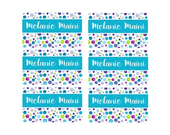 95ct Stick On Clothing Name Labels,  Kids Clothing Labels, Personalize Uniform Name Labels - Baby Clothing Water Color Dots