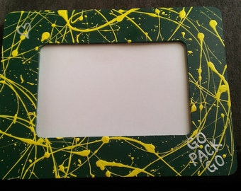 Hand Painted 4x6 Wooden Picture Frame - Green Bay Packers - Wisconsin Badgers