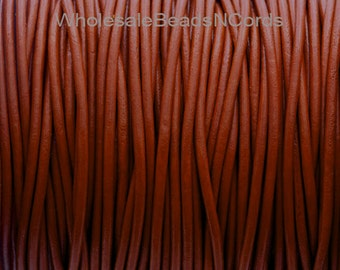 1 Yard of 2mm Premium Round Leather Cord - Medium Brown - Jewelry Making Supplies Wholesale - Lead Free - Instant Ship USA Seller 0608A