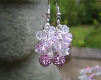 Pink Crystal Cluster Earrings. Cluster Earrings. Pink Earrings. Sparkly Earrings. Drop Earrings. Dangle Earrings. Pink Cluster Earrings.