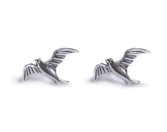 Henryka Silver Flying Bird Stud Earrings